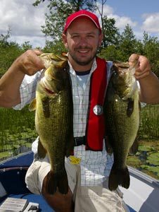 Bass angler with to largemouth