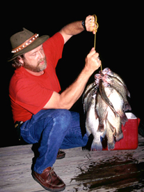 Crappie angler holding up his night fishing catch