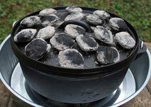 Dutch Oven Cooking with coals on top
