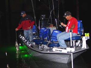 Anglers night fishing in a boat