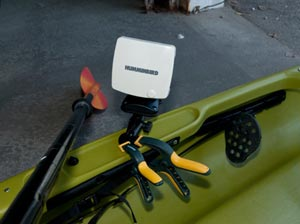 Kayak with a fish finder attatched to the edge