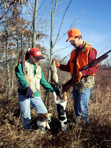 Two rabbit hunters with beagles