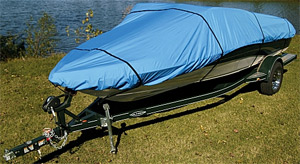 boat with boat cover