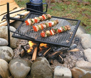 Adjust-A-Grill with kebabs