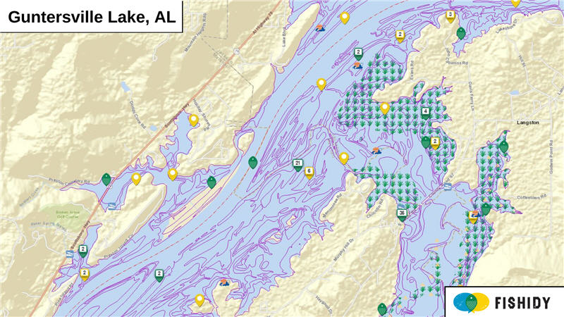 Map of Guntersville Lake, Alabama with fishing reports and hot spots