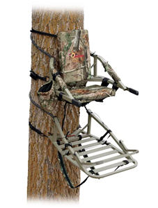 Bowhunter Climbing Treestand