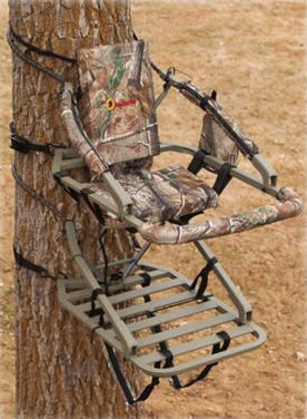 API Outdoors Alumi-Tech Crusader Climbing Treestand mounted to a tree