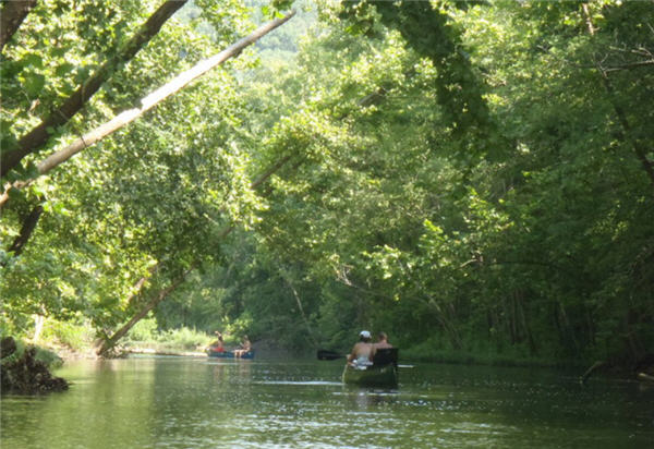 River floating four people in two canoes in the summer under the lush green canopy of the Jacks Fork River, Missouri