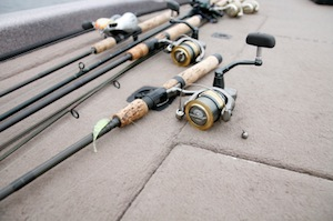 Rods and reels on boat