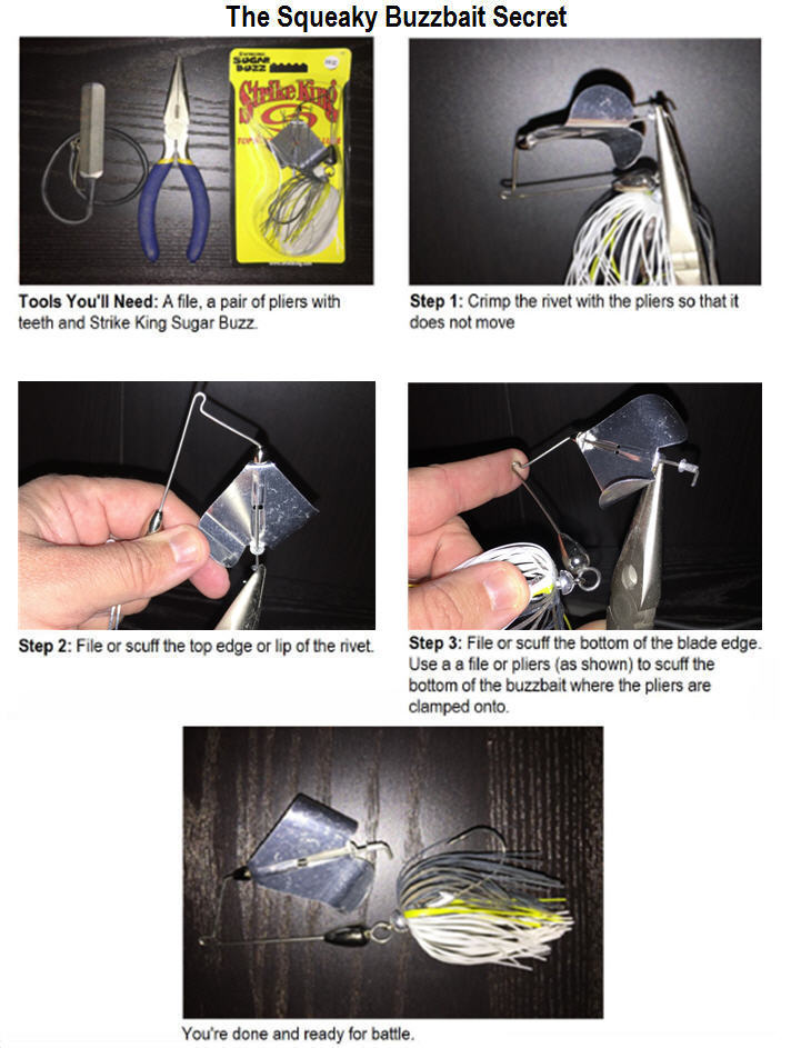 "A guide showing  ""how-to"" steps for making the Squeaky Buzzbait Secret"