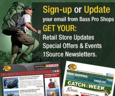Bass Pro camping & hiking email sign-up