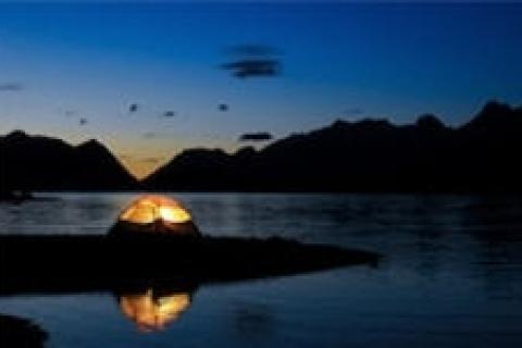 Tent camping on the water