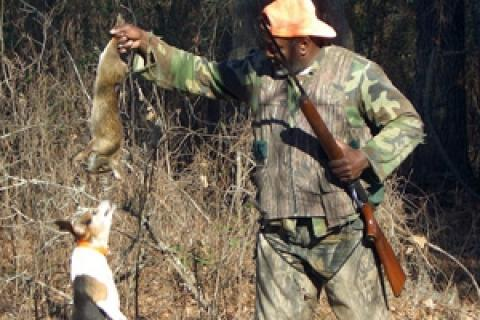 Rabbit hunter and beagle with rabbit