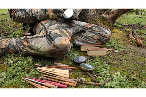 Hunter with many turkey calls