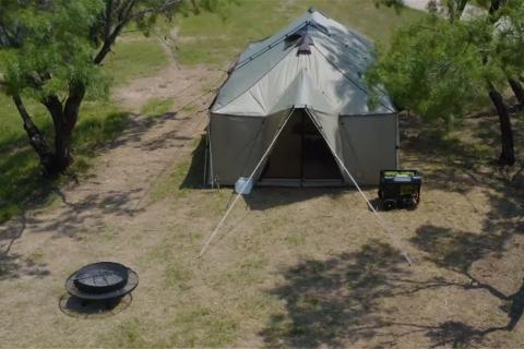 Hunting camp tent and generator