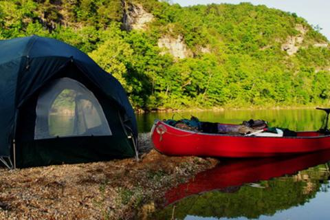Ozark national riverway gravel bar camping