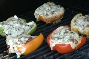 Red, yellow & green peppers with duck stuffing