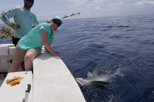 Lady angler stretching over the side of the boat posing with the shark she caught