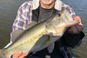 Bass angler sitting on the lake holding a large bass