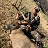 hunter with big buck