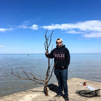 angler with tree branch